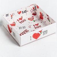 """Коробка для макарун с подложками """"I love you"""""""