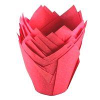 Капсула бумажная Тюльпан, цвет малиновый, 10 шт