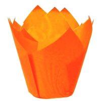 Капсула бумажная Тюльпан, цвет оранжевый, 10 шт
