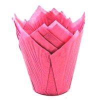 Капсула бумажная Тюльпан, цвет розовый, 10 шт