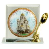 """Сувенирная подставка для ручки с иконой """"Храм-на-Крови"""""""