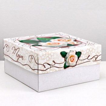 """Коробка для торта """"Белые розы""""  29,5х29,5х15 cм"""