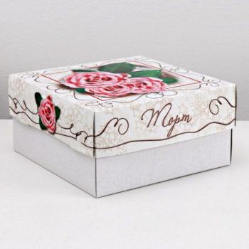 """Коробка для торта """"Розовые розы""""  29,5х29,5х15 cм"""