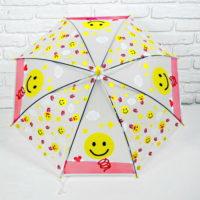 Зонт-трость «Смайлик», полуавтомат, детский